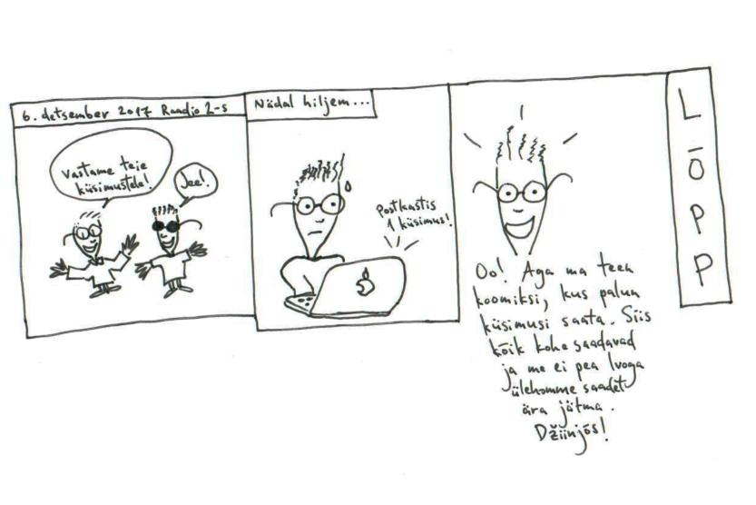 Jim'i joonistatud koomiks küsimuste saamiseks